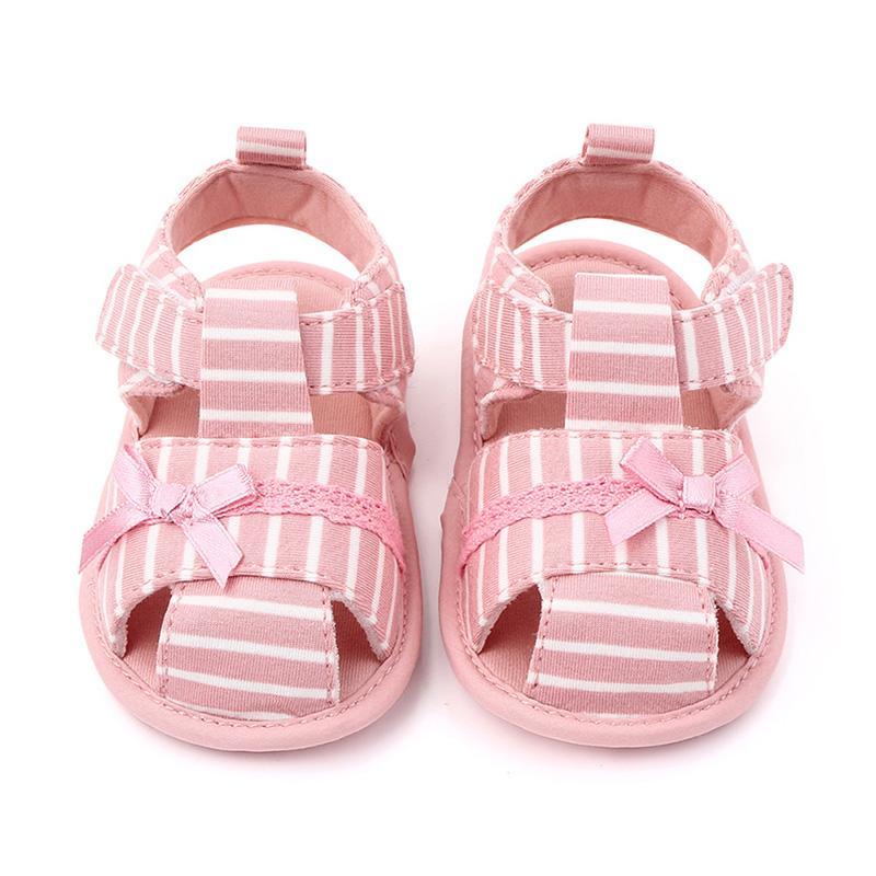 2020 sandalias del verano del niño recién nacido del bebé suave zapatos de bebés Cuna antideslizante zapatilla de deporte de rayas arco princesa de zapatos