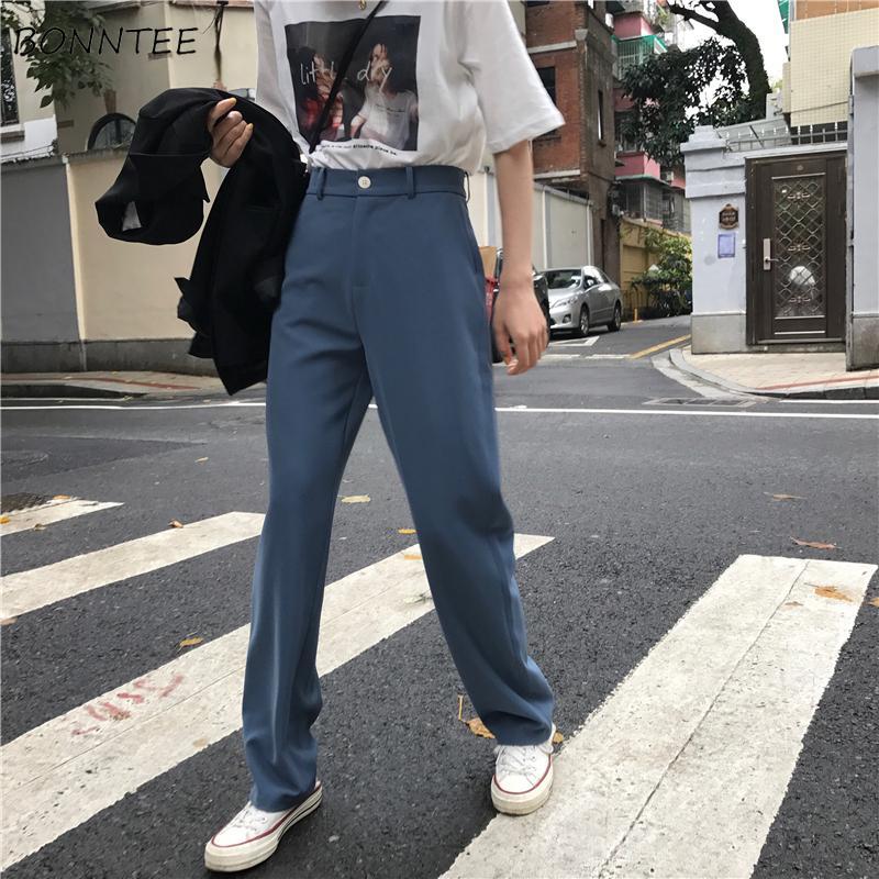 Pantalon Femmes Rétro haut Waost solide Couleur Loisirs Pantalon Femmes Printemps coréenne capris élégant tout-match de pantalon dames Bouton Pocket T200727