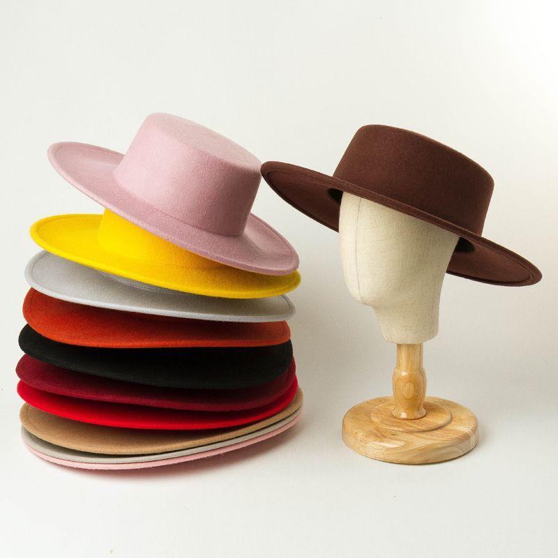 Yün Çocuk Şapka Keçe Kız Geniş Brim Floopy Kap Çocuk Aksesuarları Çocuk Keçe Düz Şapka Kızlar Büyük Yün Kap A3827