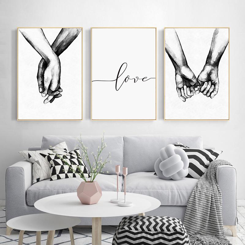 Nordic Poster Black And White Holding Hands Canvas Wall Art Print Love Quotes Home Painting Decorative Pictures for Living Room