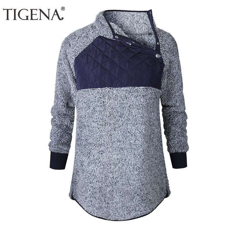 TIGENA Velvet T-Shirt Femme 2018 Casual manches longues Pulls Sweats à capuche Femmes Top Ladies Sweat Femme Sweat Femme Kpop O2gV #