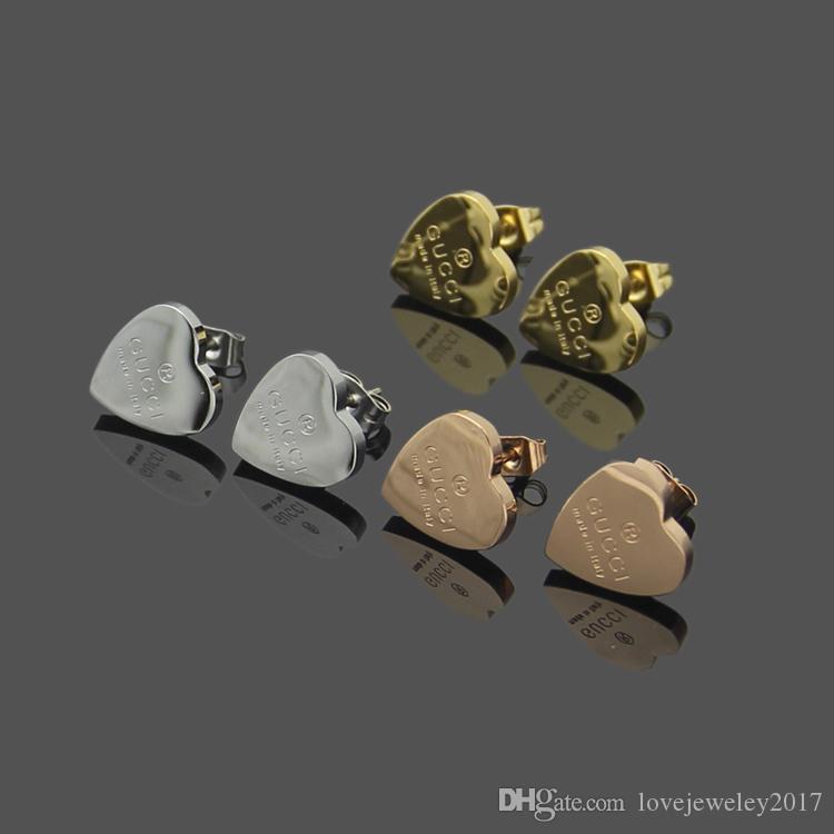 Luxus-Designer-Schmuck Frauen Ohrringe Liebe Ohrringe Edelstahl Silber Gold 18 Karat Gold elagant Herzbolzen Mode-Stil stieg