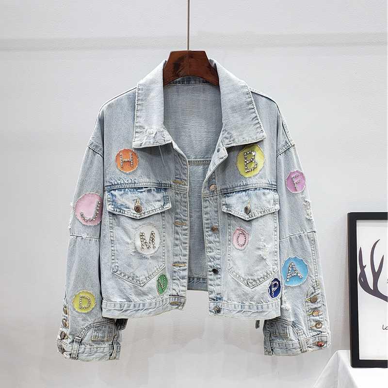Moda Otoño raído corto Denim chaqueta de la capa diamantes Prendas de abrigo suelta Letter Parche de los pantalones vaqueros de la chaqueta femenina de Calle