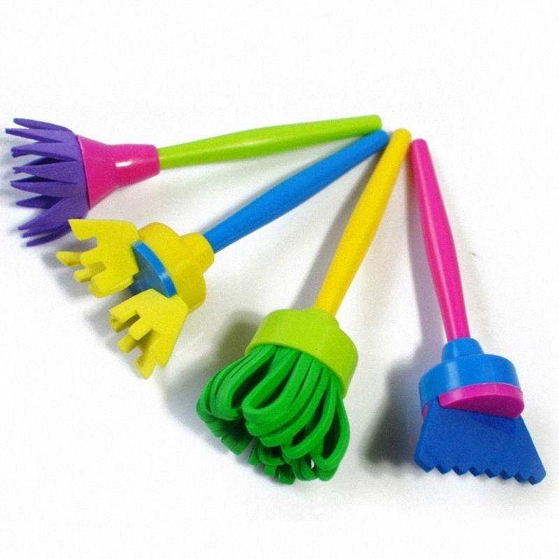 4adet Çocuklar Çocuklar Yaratıcı Çiçek Damga Sünger Fırça DIY Sanat Araçlar snsw # Boyama
