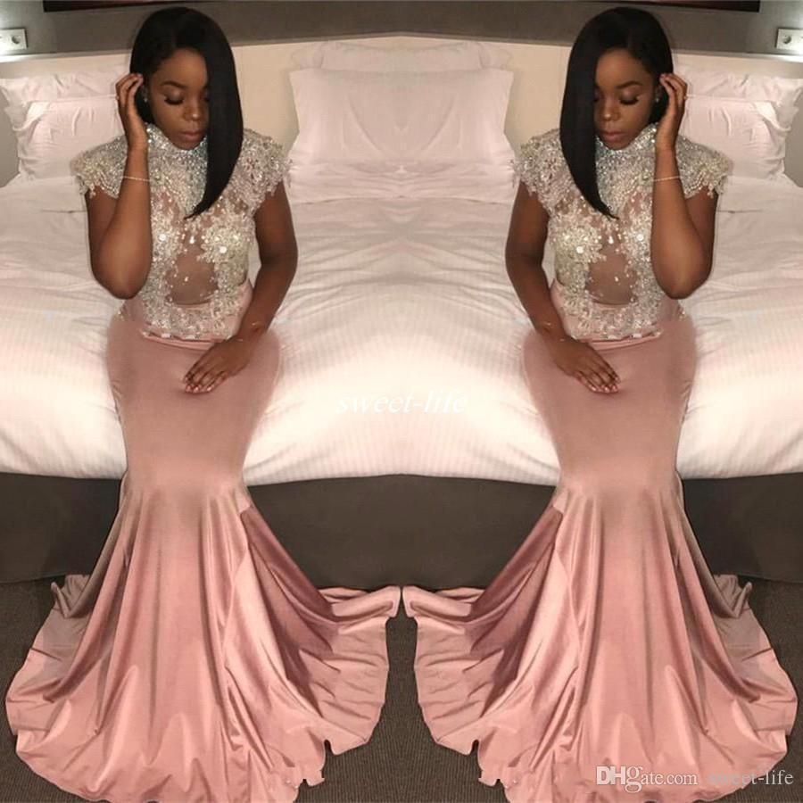 2021 col montant rose vintage sirène longue noire 2K17 occasion Robe manches courtes perles Appliques Robes de soirée grande taille Robes de bal