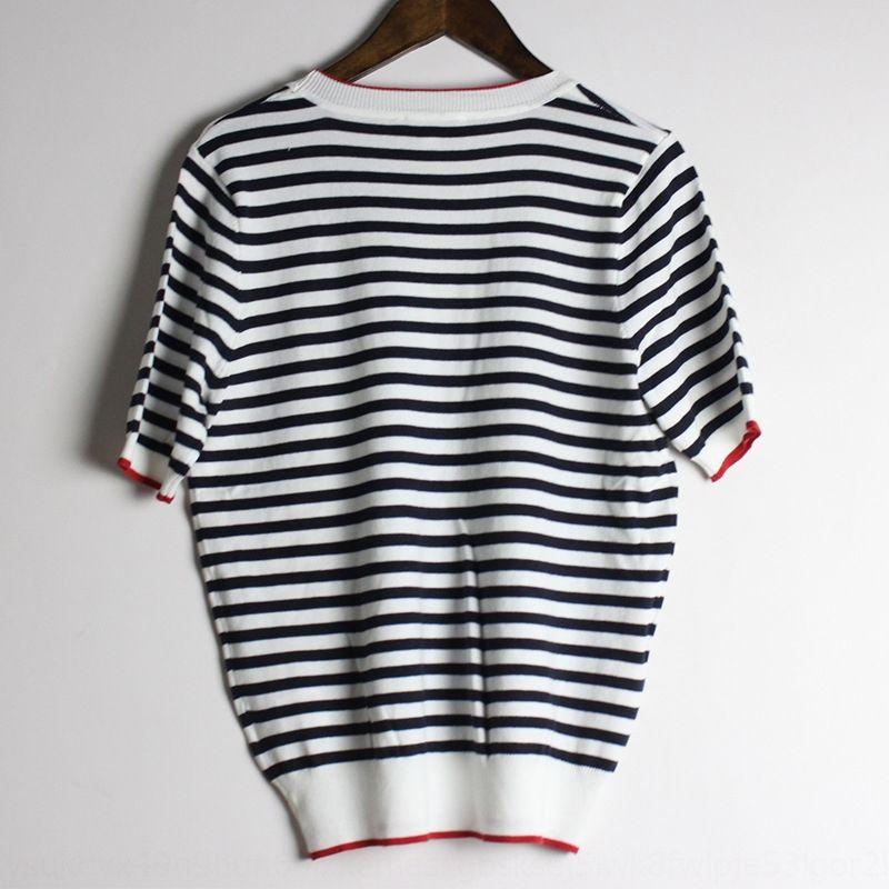 19 летние новой женской одежды свитер французской романтической простой классический полосатый короткий рукав вокруг шеи все соответствует свитер