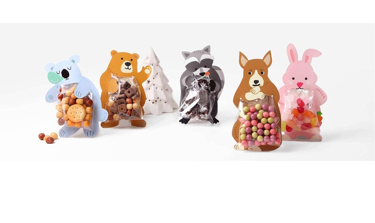 Children's Day Kid Children Gift Baking DIY Candy Gift Bag 10 pcs Food Storage Treat Bags Good for Cookies Cotton Animal Chocolate Candy Bag