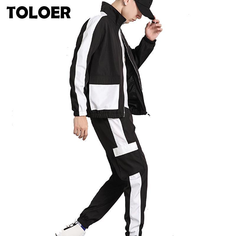 Men's Tracksuits 2021 Hip Hop Tracksuit Men Two Piece Clothing Sets Casual Jackets + Pants 2PCS Track Suit Patchwork Sportswear Sweatsuits