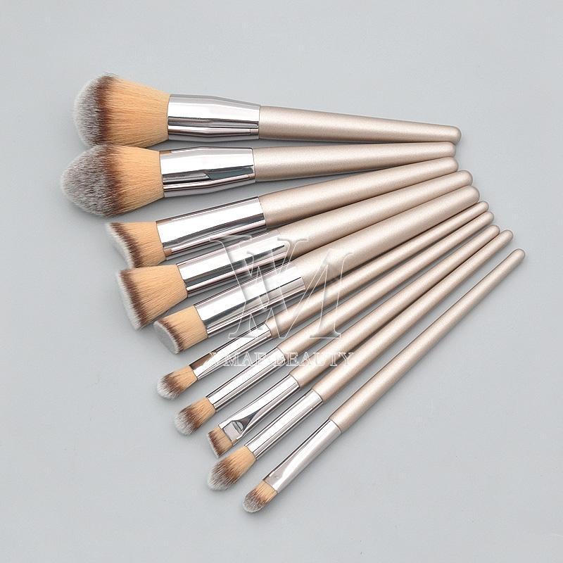 10pcs макияж кисти Набор шерсти волокна древесины ручки горячий продавая профессиональный макияж инструменты Eye Shadow Фонд Blush Brush Brow губ