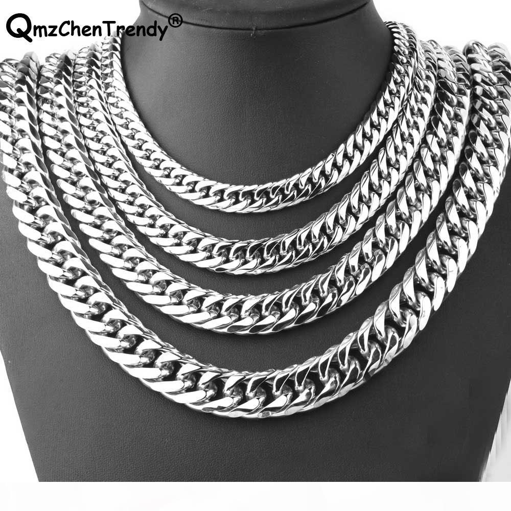 9mm 11mm 13mm 16mm 19mm 21mm Men Chain Silver Color Stainless Steel Cuban Chain Necklace for Men Curb Cuban Link Hip Hop Jewelry