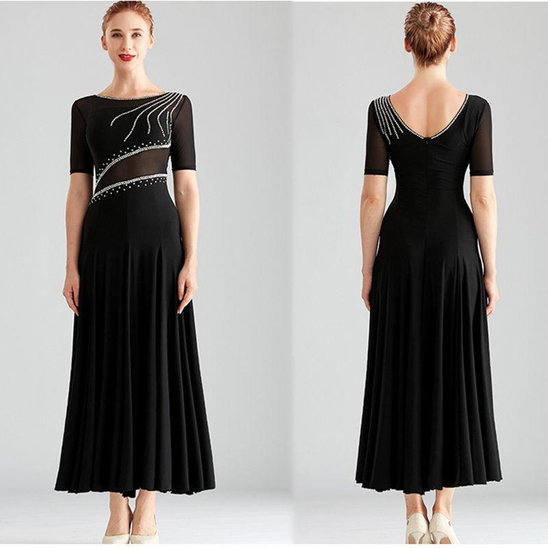 New Ballroom Competition Dance Dress Women Black long waltz Tango Modern dance costumes