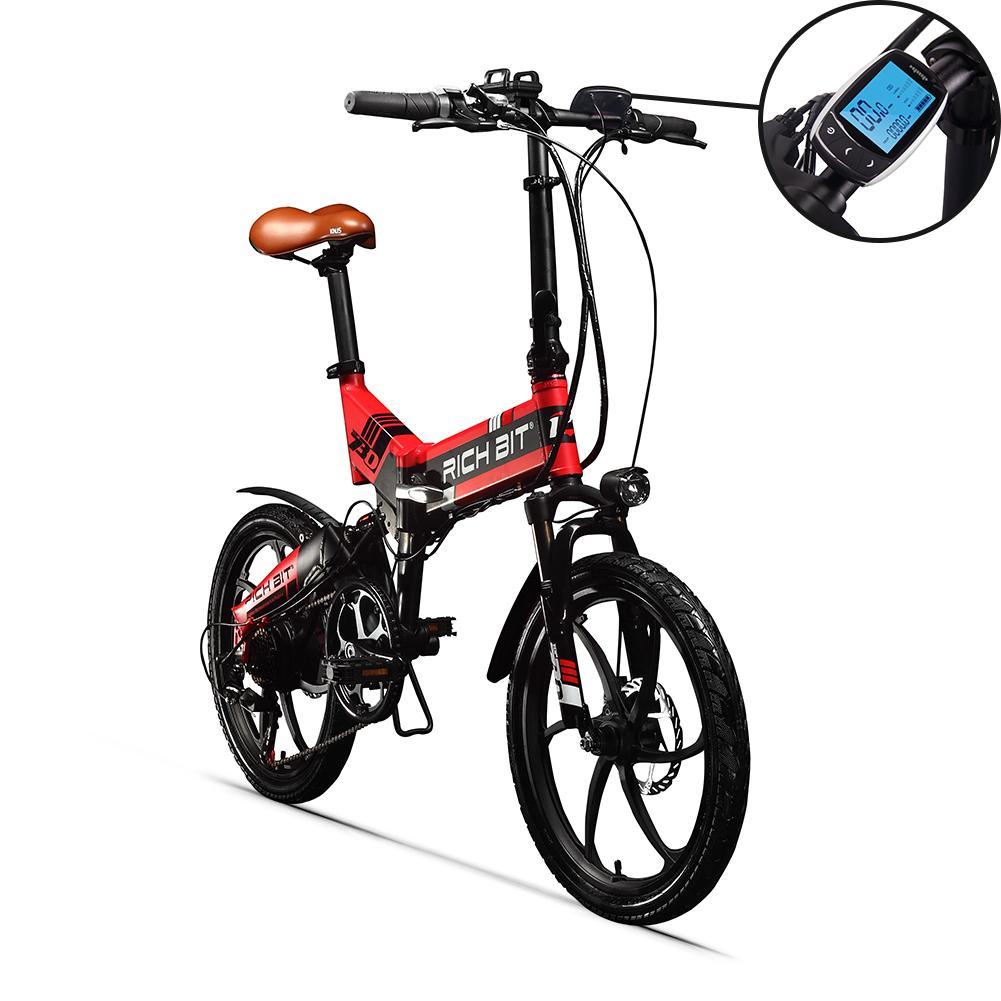 Richbit Top-730 48V 250W 8Ah 20 pouces pliant Bromfiets vélo électrique 32 Km / h Vitesse maximale 45-50Km Distance vélo électrique rouge
