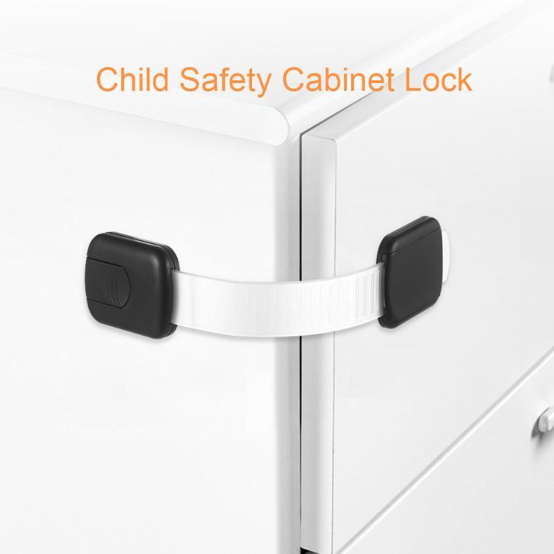 Child Locks Baby Safety Cabinet Locks Adhesive No Drilling Adjustable Strap Lock for Cupboards Dresser Fridge Oven Toilet Seat
