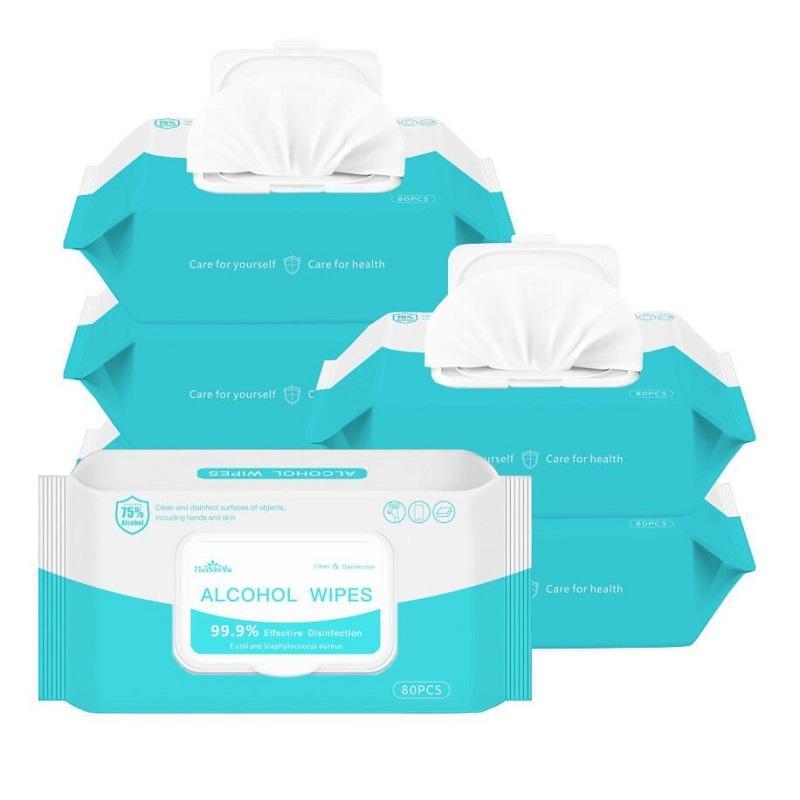 75% de alcohol toallitas antisépticas Desinfección de ratón anti del polvo del trapo mojado portátiles 50pcs desinfección Dipe / paquete antiséptico limpiador Esterilización