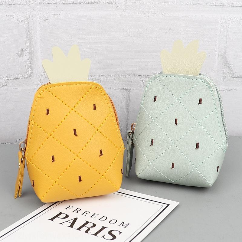 Fruit pineapple Pu coin Fruit Pineapple wallet purse key chain creative key bag coin bag Mini Lady's wallet