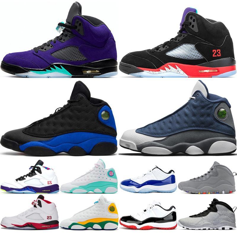 Nike Air Jordan Retro 13s 5s 11s мужские баскетбольные кроссовки 10 Tinker Cement 10s мужские туфли Cool Grey I'm Back chicage Порошок синих кроссовок спортивные кроссовки разме