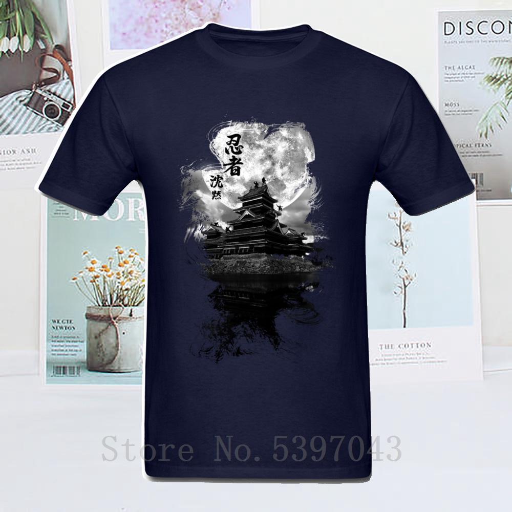 Infiltrations Ninja-T-Shirt aus 100% Baumwolle Männer T-Shirt Entwurf T-Shirt-Druck kurzer Ärmel Japan-Art-Mond Nacht Kleidung Spitze T Navy