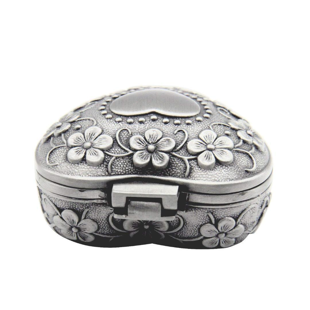 Classic Vintage Antique Heart Shape Jewelry Box Ring Small Trinket Storage DD