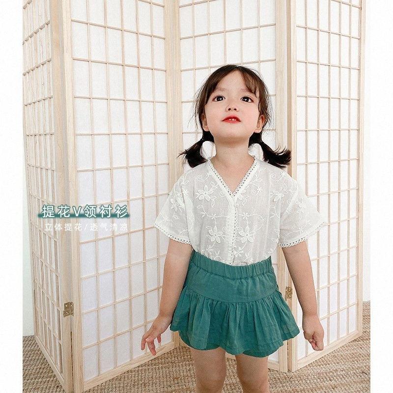 Sommer-Baby-Mädchen arbeiten Spitze Jacquard Weave Shirts Baumwolle Kurzarm mit V-Ausschnitt-Shirt Cool Kids T-Shirt aE4N #