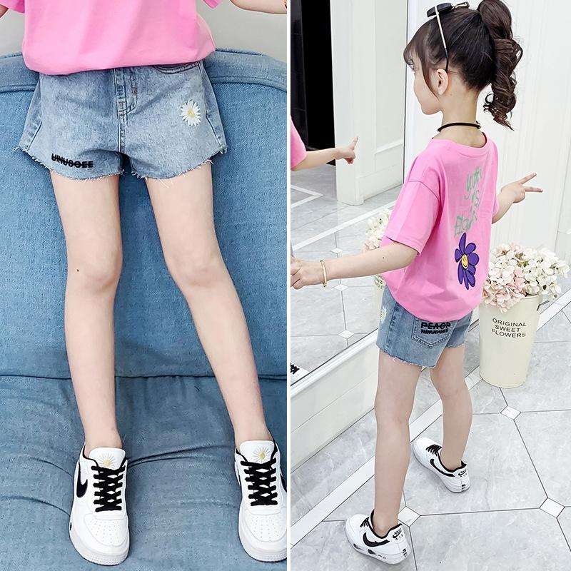 olpz3 Girls' Denim 2020 new summer dress Embroidered and shorts daisy embroidery shorts foreign style girls Korean style outdoor hot pants f