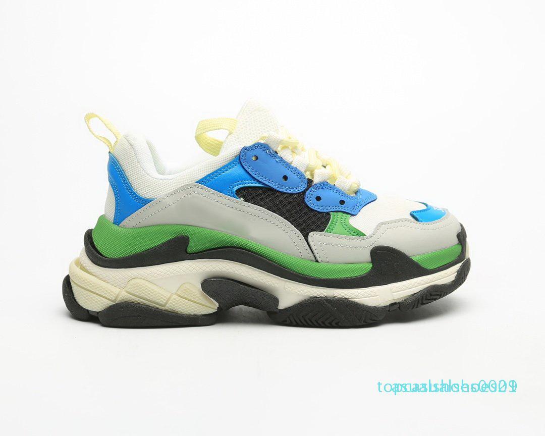 1Fashion Scarpe lujo diseñadores zapatillas de deporte Zapatos Marque verter casas Hombres Mujeres Triple S Plataforma Sole aptitud casual papá retro t01