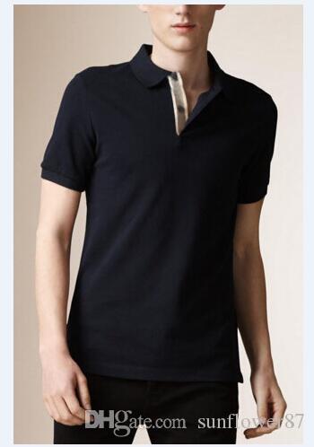 Nuovi uomini solido T-shirt Horse Ricamo England moda maschile di Londra Brit Polo Cotton Business Casual Tees Black Navy Blu Rosso Viola