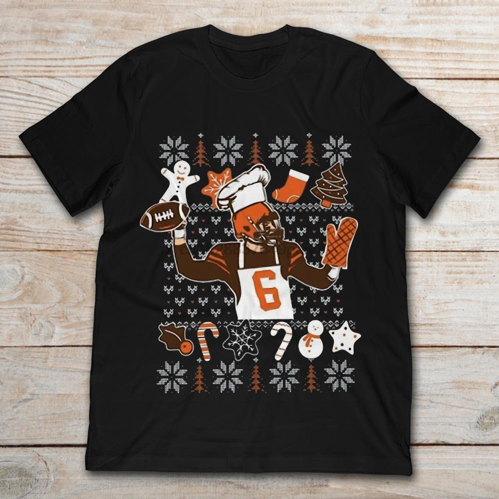 Baker Mayfield With Cooking And Christmas T-Shirt