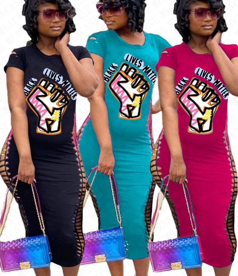 SİYAH ÖMÜRE MADDE Mektupları Broken Delik Kısa Kollu T gömlek elbise Kadınlar BODYCON Elbiseler İnce Seksi Tek Parça Etekler Elbise Yeni D71401 yazdır