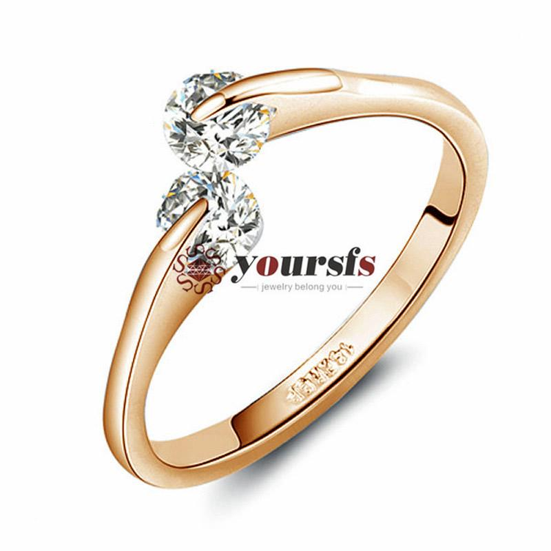 Yoursfs18k rosa ouro cristal zircon anel de casamento mulheres jóias