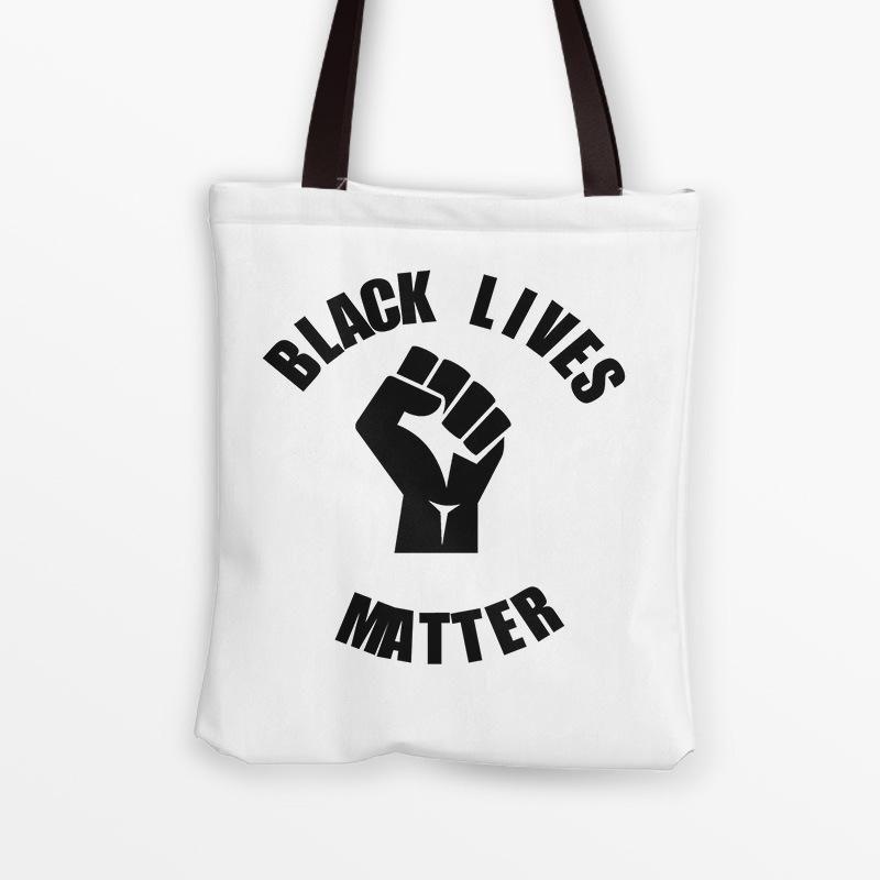 Eu não posso respirar envio Bag Mulheres Canvas Should sacos pretos VIVO MATTER letra Impressão Ombro Bolsas menina Tote GGA3461-4