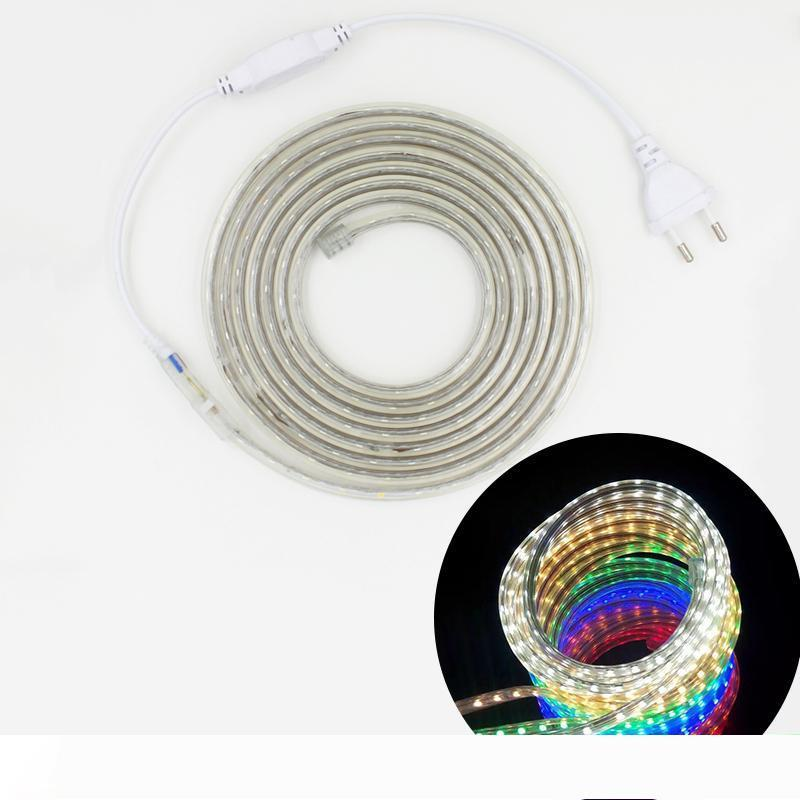220V bande LED 5050 étanche flexible à LED Lampe en bande Chaîne 1M 2M 3M 4M 5M 10M 12M 15M 20M 60LEDs M lumières de Noël