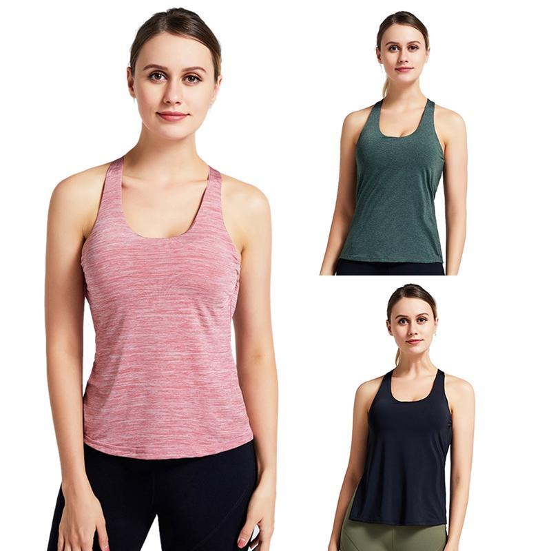 Femmes Printemps Eté Gilet de sport Yoga course Faux 2 pièces sans manches séchage rapide Vêtements de remise en forme