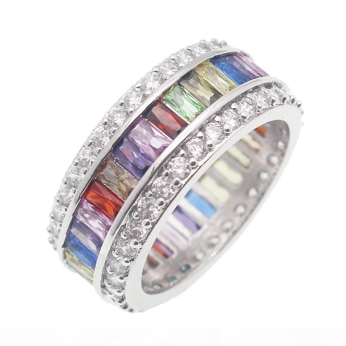 Wedding Ring monili del regalo di moda ametista Peridot del Morganite donne 925 Silver Crystal Gemstone Natural Garnet