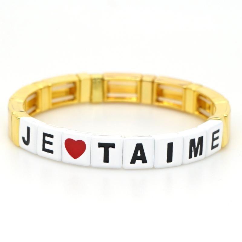 Shinus Tile émail Bracelet JE-TAINE Je t'aime Lettre Bracelets femmes Coeur Bangles Summer Beach bijoux en or Amis main