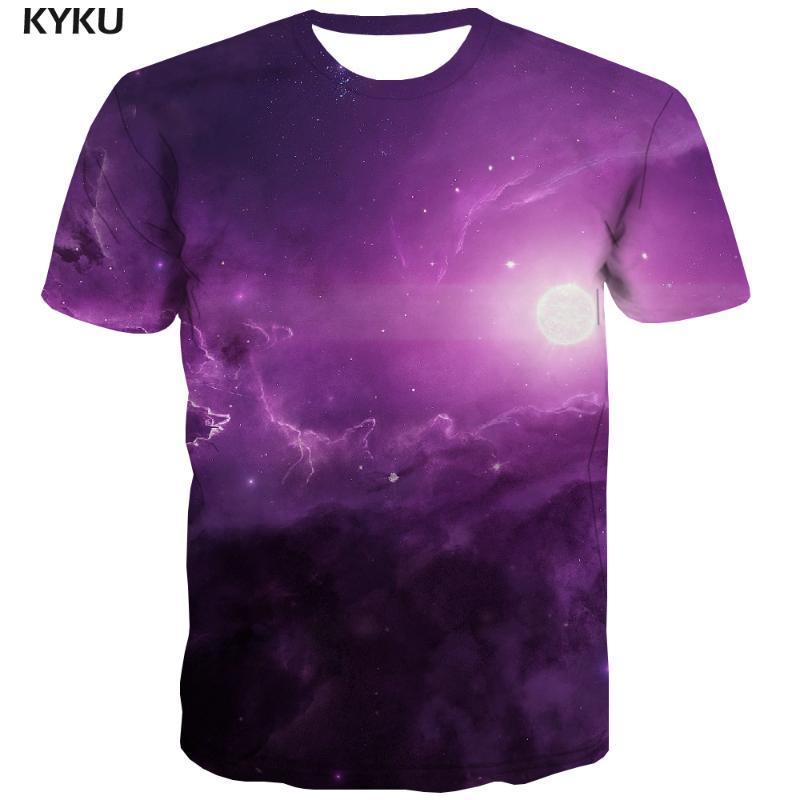 3D 티셔츠 갤럭시 T 셔츠 남성 달 애니메이션 의류 공간 셔츠 인쇄 성운 티셔츠 캐주얼 퍼플 티셔츠 3 차원 남성 의류