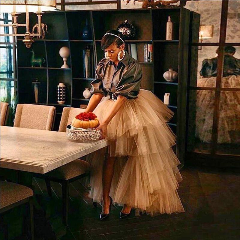 Champagne High Low Puffy Tiered Tulle Skirts For Women Asymmetrical Tutu Skirt 2020 Tulle Skirt Long Faldas Saia Custom Made
