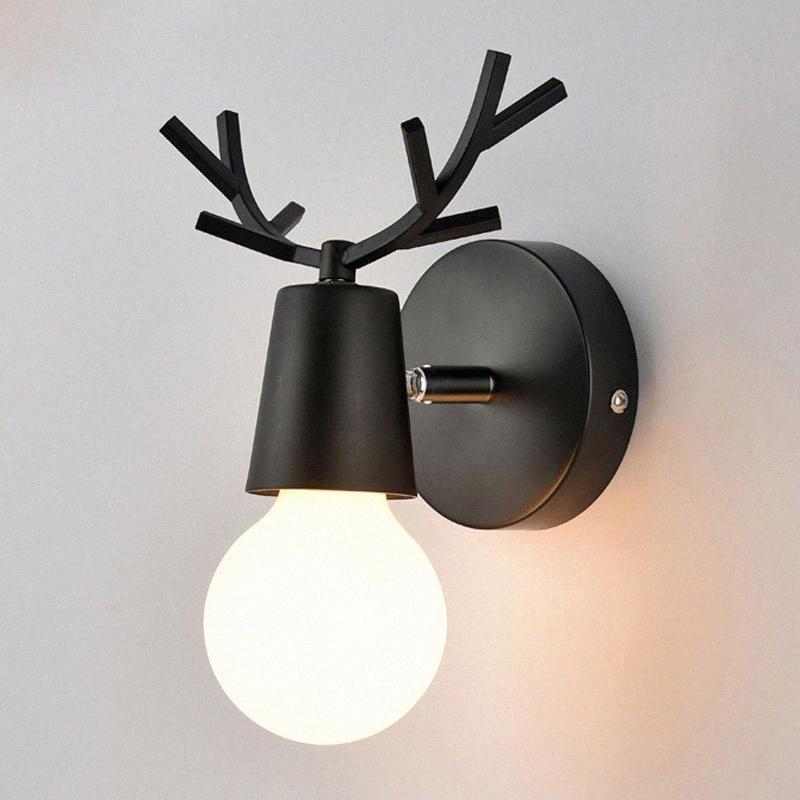 Macarons nordici parete variopinta lampada LED Luce a muro Cartoon Deer Antlers lettura Sconce Mounted Camera Soggiorno E27 XxkK #