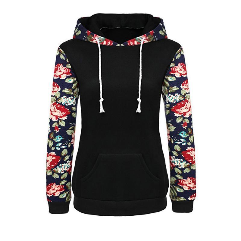 Женские толстовки толстовки 2021 зимняя осень мода женские цветочные принты осень весенняя перемычка с длинным рукавом верхняя одежда с капюшоном