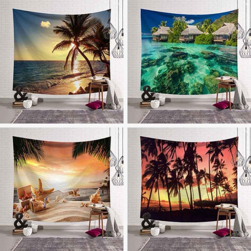 Tapices de palmeras tropicales hojas tapiz colgante colgando playa puesta de sol paisaje yoga playa toalla bohemia decoración para el hogar