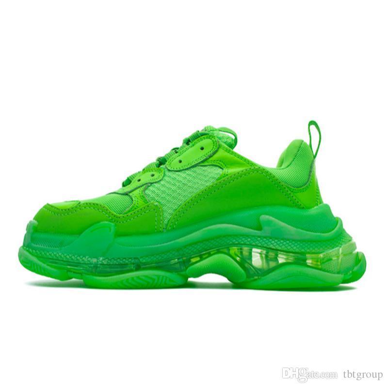 sapatos de grife verde Triple S sapatilhas clara únicos para as Mulheres Homens Luxo Shoes vovô instrutor pai Vintage claro Tamanho 12Color grande