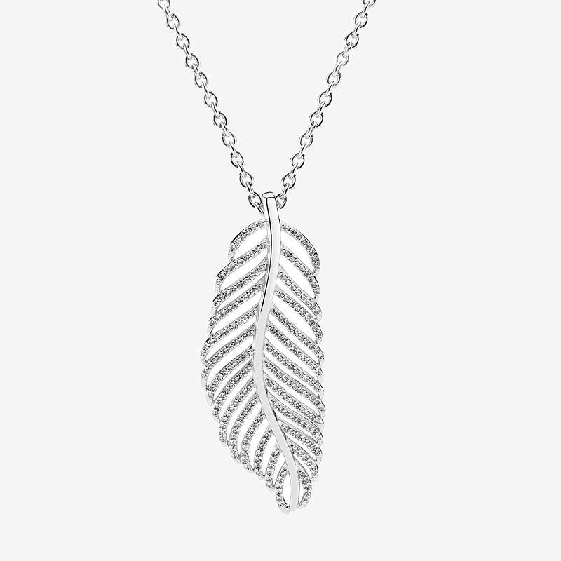 스파클링 라이트 깃털 펜던트 목걸이 CZ 다이아몬드 여성 결혼식 선물 Pandora 925 스털링 실버 체인 목걸이에 대 한 원래 상자