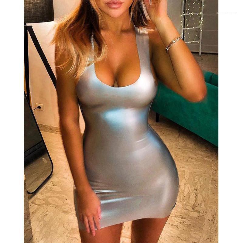 Cuoio sexy Vestito aderente Donna Patchwork maniche estate Donne Vestito aderente solido di colore Mini U-collo Dress