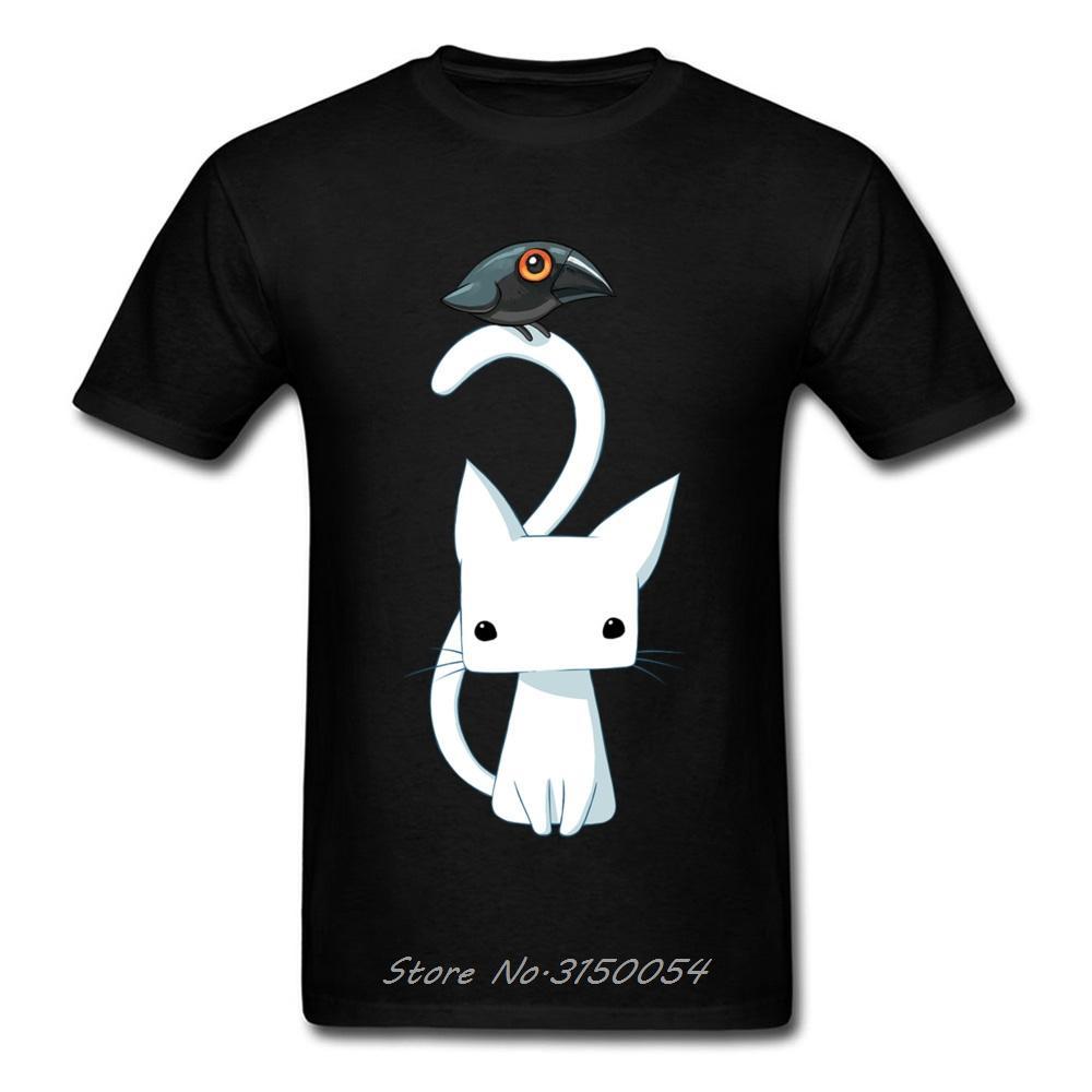 Divertido y el gato cuervo camiseta camiseta de los hombres de dibujos animados minimalista camiseta del verano del algodón remata tes Negro Ropa de Harajuku