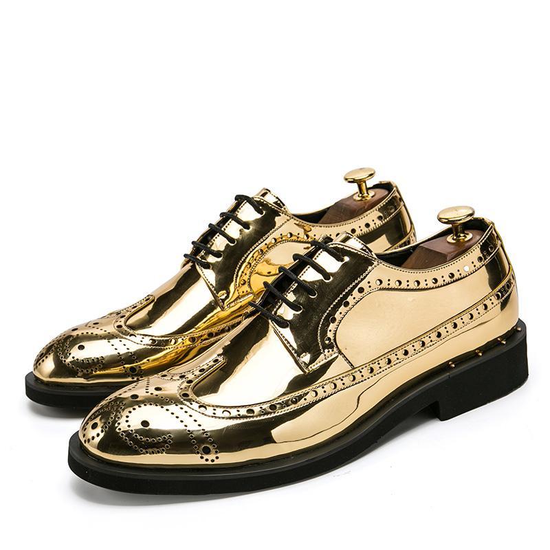 Brogue cuero para hombre de pisos formales Zapatos moda de los hombres señalaron los zapatos de vestir Oxford boda empresarial Salas de zapatos de los hombres