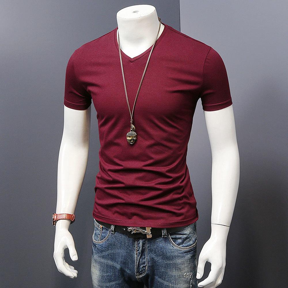 MYDBSH Hombres Ropa de la marca de Verano camiseta sólido masculino camiseta para hombre de la manera ocasional camiseta de manga corta más el tamaño 5XL envío CX200709