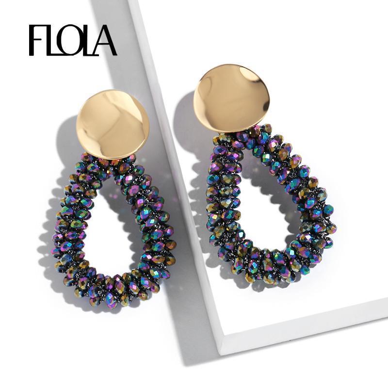FLOLA main perles colorées Boucles d'oreilles femmes Trendy Dangle Boucles d'oreilles Teardrop Pendentif kralen oorbellen ersq07