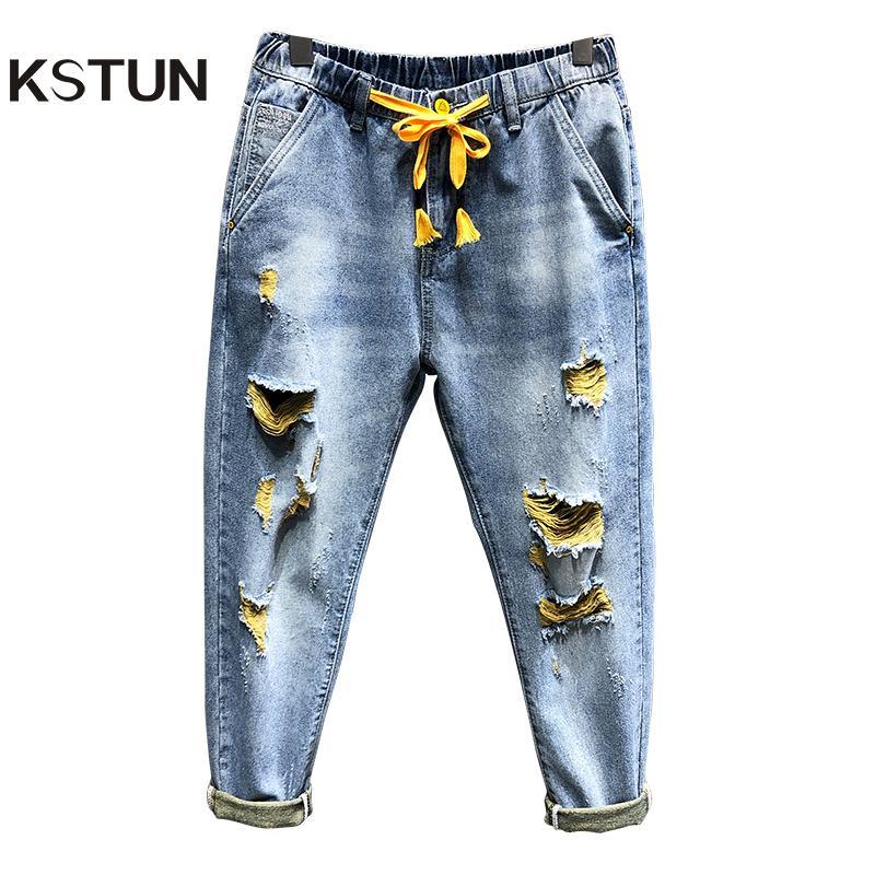 Mens Zerrissene Jeans Light Blue 100% Baumwolle Distressed gebrochenes Loch Street-Hose-Denim-Jeans-elastische Taille und Baggy Leg