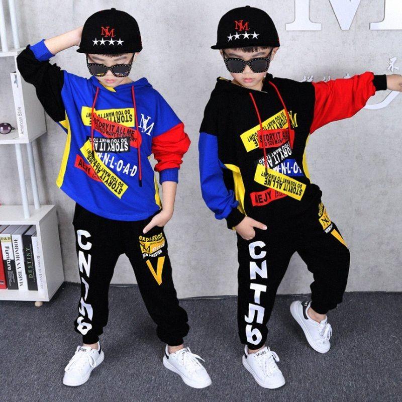 vestito Abbigliamento autunno Boy 2 pezzi tuta + pantaloni incappucciati insiemi grandi ragazzi Sportwear Imposta tuta con cappuccio Outwear 6 8 10 12 14 anni 4pvC #
