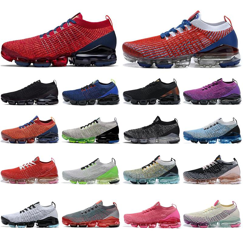 Nike Air Vapormax Flyknit 3.0 3.0 Örgü 3.0 Koşu Ayakkabı Pembe Gül Noble Kırmızı Açık Mavi Kadınlar Erkek Eğitmenler Runner Atletizm açık Nefes Sport Sneakers Fly