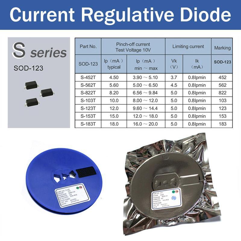 الصمام الثنائي تنظيمي الحالي، CRD، S-452T، S-562T، S-822T، S-103T، S-123T، S-153T، S-183T SOD-123، وتطبيقها على إضاءة LED، مصابيح LED 4.5mA 5.6mA 8.2mA